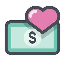 dollarsedel med hjärta